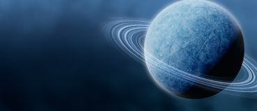 Frozen Planet with Rings (Panorama) Royalty Free Stock Photo