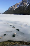 Frozen Plansee in Austria Stock Images