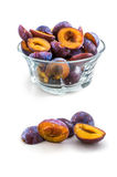 Frozen plum without pit isolated on white background Stock Images