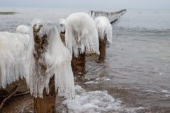 Frozen poles of breakwaters on the sea coast. Icy wooden poles. Season winter stock photo