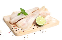 Frozen pollock (pallock) and spices Royalty Free Stock Image
