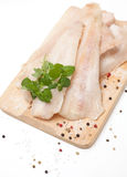 Frozen pollock and spices Stock Photos
