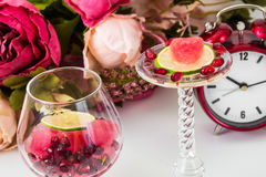 Frozen pomegranate juice with lime Stock Photo