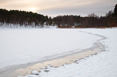 Frozen Pond. With the melting border during approaching sunset Stock Images
