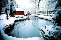 Frozen pond Royalty Free Stock Photos