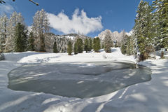 Frozen Pond in the Dolomites Royalty Free Stock Images