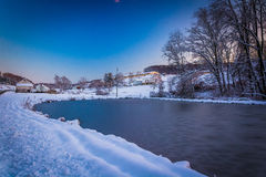 Frozen pond on a farm in rural York County, Pennsylvania. Stock Photo
