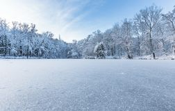 Frozen Pond in Park in United Kingdom. Bright winter scene of frozen pond and trees covered in snow in United Kingdom royalty free stock photo