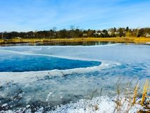 Frozen Pond At A Park. Frozen Pond on a Winter`s day in a park in New Jersey. `Assignment Files stock photography