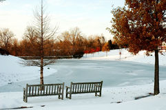Frozen Pond in Winter stock images
