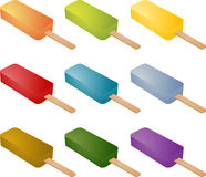 Frozen popsicle ice cream. Lolly treats many different colors Royalty Free Stock Photography