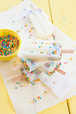 Frozen popsicles with sprinkles Royalty Free Stock Photos