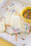 Frozen popsicles with sprinkles Royalty Free Stock Images