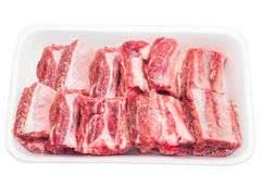 Frozen pork rib in the foam tray. Fresh food stock images