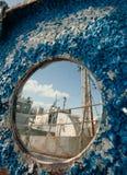 Frozen porthole Stock Photo