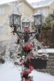 Frozen post lamp Stock Photo