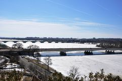 Through the frozen Potomac. Stock Photography