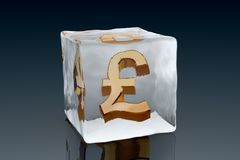 Frozen Pound. A golden Pound symbol frozen inside an ice cube (3D rendering Royalty Free Stock Photo