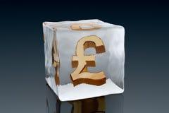 Frozen Pound. A golden Pound symbol frozen inside an ice cube (3D rendering vector illustration