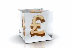 Frozen Pound. A golden Pound symbol frozen inside an ice cube (3D rendering Stock Photography