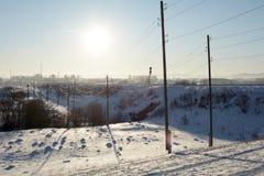 Frozen power line royalty free stock photos