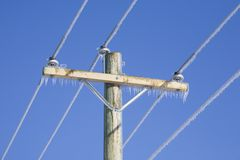 Frozen Power Lines Stock Photography
