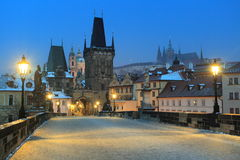 Frozen Prague Royalty Free Stock Photography