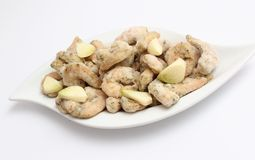 Frozen prawns with garlic Royalty Free Stock Images