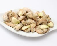 Frozen prawns with garlic Stock Images