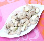 Frozen prawns with garlic Stock Image