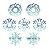 Frozen product icon set. Frozen food packaging stickers stock illustration