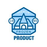 Frozen product premium since 1965, abstract label for freezing vector Illustration Royalty Free Stock Images