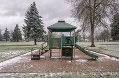 Frozen public park and playground Gresham Oregon. Stock Image