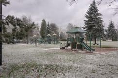 Frozen public park and playground Gresham Oregon. Royalty Free Stock Images