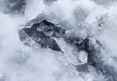 A frozen puddle with broken ice. As a background Stock Photography