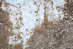 Frozen puddle and dirt road close-up Stock Images