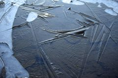Frozen puddle. Pattern in ice on a frozen puddle Royalty Free Stock Images