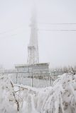 Frozen radio transmitting tower Stock Image