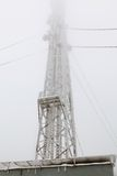 Frozen radio transmitting tower Royalty Free Stock Photos