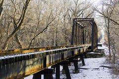 Frozen Railroad Trestle Bridge Stock Image