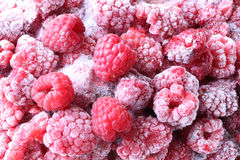 Frozen raspberries background Royalty Free Stock Images