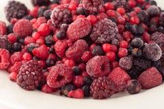 Frozen raspberries, blackberries, cranberries and stock image