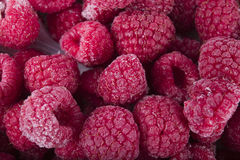 Frozen raspberries macro Stock Image