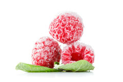 Frozen raspberries with mint leaves isolated on white. Frozen raspberries macro with mint leaves and ice  isolated on white background Royalty Free Stock Photo