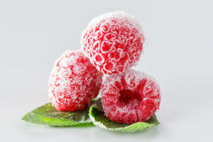 Frozen raspberries with mint leaves on white. Frozen raspberries macro with mint leaves and ice  on white background Stock Photography