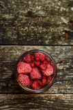 Frozen raspberries. Top view. Space for text. Frozen raspberries. Top view and space for text Stock Image