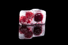 Frozen raspberry and cherry. Stock Images