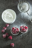 Frozen raspberry with sour cream Royalty Free Stock Photos