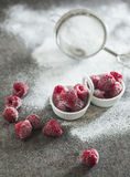 Frozen raspberry with sour cream Stock Photos
