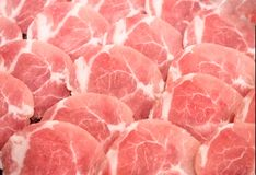 Frozen raw pork slice background ,raw meat. For BBQ Stock Photography